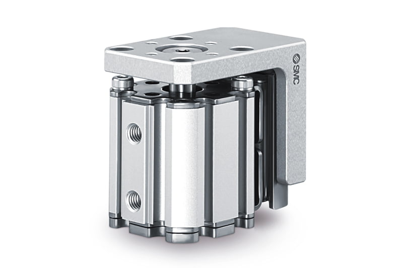 Compact cylinder with linear guide