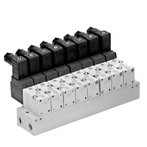 VV3KF3-20/21, Serie VKF300, 3-Wege-Elektromagnetventil Mehrfachanschlussplatte, Rohrversion