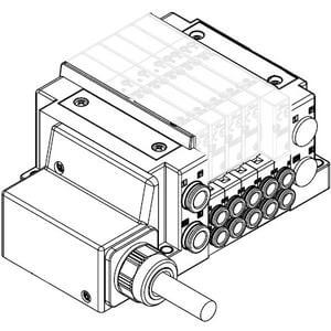 SS5Y3-10L, 3000 Series Manifold, Lead Wire (IP67), Side Ported