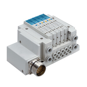 SS5Y7-10M, 7000 Series Manifold, Circular Connector (IP67), Side Ported