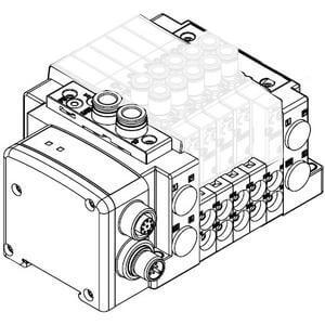 SS5Y5-12SA2, Serie 5000, serielles Übermittlungssystem EX500 in Dezentraler-Ausführung (IP67), Anschlüss oben