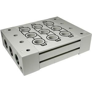 SS5Y9-23*, Řada 9000, Vícenásobná připojovací deska - pro ventily se závity v tělese, skládaná, montáž na DIN lištu (volitelně)