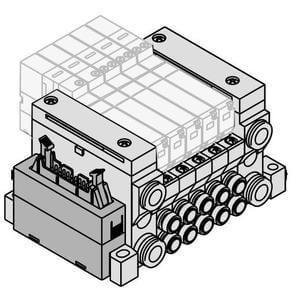 VV5Q11-J, Serie 1000 Mehrfachanschlussplattemit interner Verdrahtung, Flanschversion, Flachbandkabel (20 Pin)