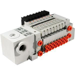 VV5Q11-T, Serie 1000 Mehrfachanschlussplatte mit interner Verdrahtung, Flanschversion, Anschlussbox