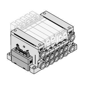 VV5Q21-J, řada 2000, Vícenásobná připojovací deska - interní prodrátování, konektor pro plochý kabel
