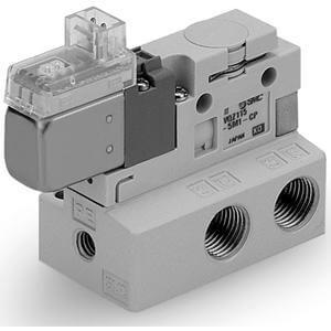 VQZ115, Řada 100,  Elektromagnetický nepřímo ovládaný 3/2 ventil, montáž na základovou desku