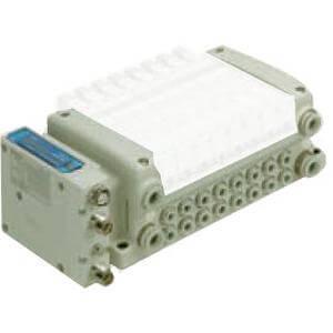 VV5QC11-S, Serie 1000 Mehrfachanschlussplatte mit interner Verdrahtung, Flanschversion, EX260 mit integriertem Ausgangsmodul