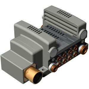 56-VV5QC21-M, Serie 2000 Mehrfachanschlussplatte mit interner Verdrahtung, Flanschversion, Rundstecker-Anschlussbox, ATEX Kategorie 3