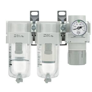 AC20C-40C-A, Modulární jednotka úpravy stlačeného vzduchu, filtr - mikrofiltr - regulátor tlaku