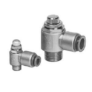 AS*2*1-F, Škrticí ventil se zpětným ventilem a nástrčnou spojkou / se závity, kovové provedení, horizontální přívod