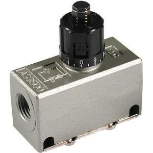 EAS3500, Škrticí ventil se zpětným ventilem, kovové provedení se závity, In-line (pro Evropu)