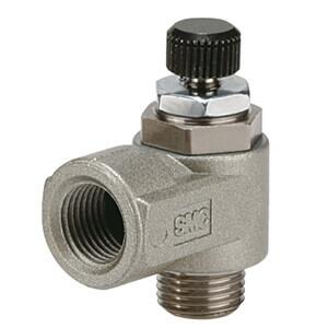 AS2*2*0M, Drosselrückschlagventil, einschraubbar mit Gewindeanschluss, Winkelausführung, Metallgehäuse, für Langsamlauf-Zylinder