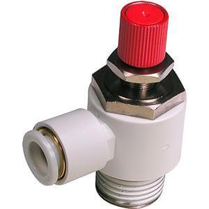 AS***1FE, Škrticí ventil se zpětným ventilem a nástrčnou spojkou, s odvzdušněním zbytkového tlaku