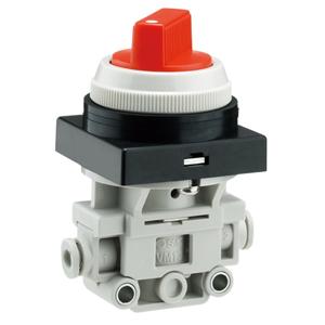 VM100F, řada 100, Mechanicky / ručně ovládaný 2/2 a 3/2 ventil s nástrčnou spojkou