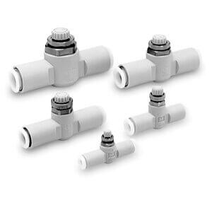 AS*1FG, Škrticí ventil se zpětným ventilem a nástrčnou spojkou, kovové díly z korozivzdorné oceli SUS 303, In-line