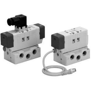 VQ7-6, Elektromagnetický nepřímo ovládaný 5/2 a 5/3 ventil, dle ISO1, standardní provedení, samostatný