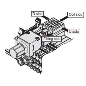 SJ3000A-P, Mezikus pro přívod vzduchu / odvzdušnění, s regulátorem tlaku a tlakovým snímačem, pro ventily řady SJ2000/SJ3000