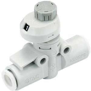 AS*2FSG, Škrticí ventil se zpětným ventilem a nástrčnou spojkou, se stupnicí, kovové díly z korozivzdorné oceli SUS 303, In-line