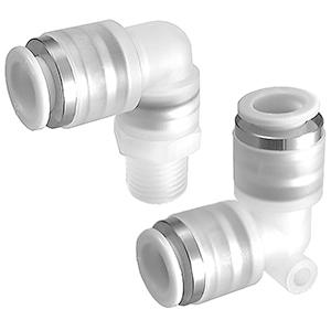 KPL, Nástrčná spojka pro čisté prostředí, úhlová jednoznačná / úhlová s vnějším závitem otočná o 360°