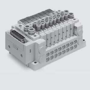 SS5Y7-12S3, 7000 Series Manifold for Series EX120 Integrated (Output) Serial Transmission System (IP20), Top Ported