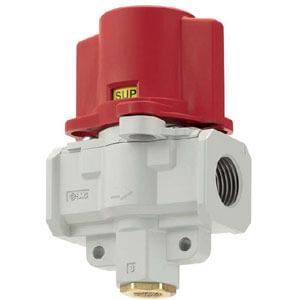 VHS2510/3510/4510/5510, Ručně ovládaný 3/2 ventil, pro odvzdušnění zbytkového tlaku, uzamykatelný, modulární provedení, dvoustupňový
