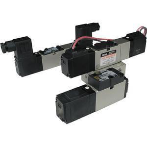 VFR2000, Elektromagnetický nepřímo ovládaný 5/2 a 5/3 ventil, elastomerové těsnění, interní prodrátování / individuální elektrické připojení (metrický)