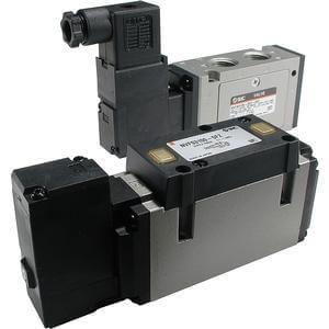 VFS3000, Elektromagnetický nepřímo ovládaný 4/2, 4/3 a 5/2, 5/3 ventil, se závity v tělese / montáž na základovou desku (metrický)