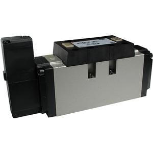 VFS5000, Elektromagnetický nepřímo ovládaný 4/2, 4/3 a 5/2, 5/3 ventil, ocelové těsnění, montáž na základovou desku, interní prodrátování / individuální elektrické připojení (metrický)