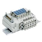 SS3J3-V60-PD/PGD/PHD/JD/GD, Vícenásobná připojovací deska - interní prodrátování, konektor pro plochý kabel, pro řadu SJ3A6 pro vakuum, vestavěný škrticí ventil